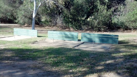 Snapshot showing 3 of the 6 horseshoe pits