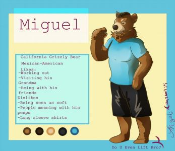 Miguel the California grizzly bear, artwork by Angeli
