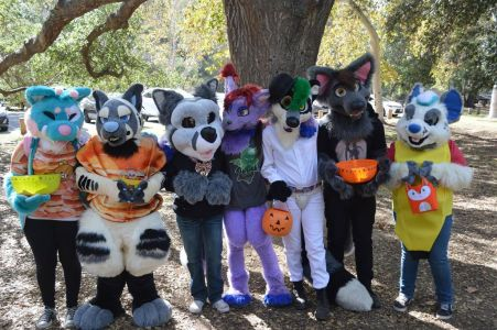 group shot of attendees of Ani-Mato's Not So Scary Halloween Party photo courtesy PonyQuest