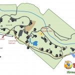 Simplified Version of the Irvine Regional Park Map. A yellow dotted line marks directions to our Group Reserved Area