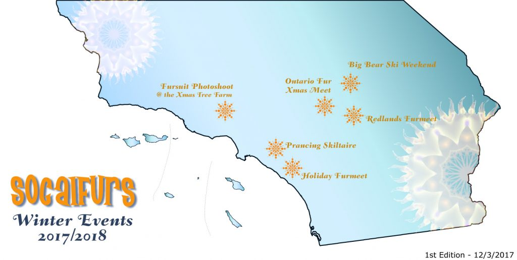 Map of Southern California, showing furry centric events going on for Winter 2017/2018. First Edition