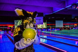 Fursuiter at Zodos Bowling Alley during Saturday's Glow event