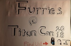 Drawn sign for the Titancon 2018 furmeet.