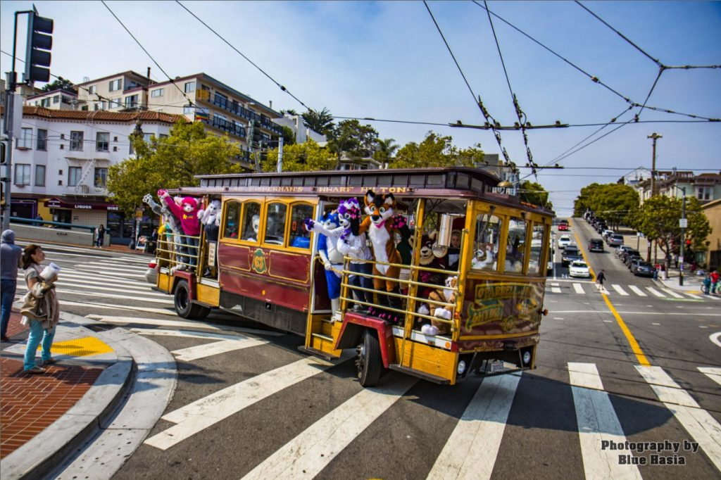 Group of Bay Area Furries riding a trolley in San Francisco, Summer 2018. The trolley is riding around a corner.