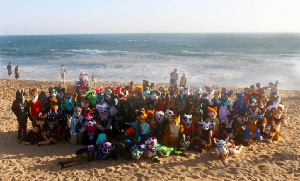 Furries and fursuiters alike gathered for a group photo at Bolsa Chica State Beach.
