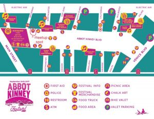 Map of the Abbot Kinney Festival, with an area marked for where the furry group will meet.