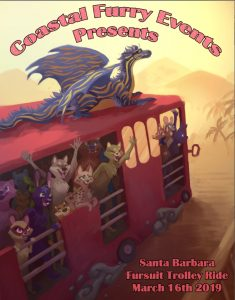 Poster for the Santa Barbara Fursuit Trolley Ride on March 16, 2019. Artwork by Blue Hasia.