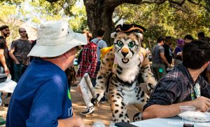 Cheetah costumed character holds a foam sword, as it approaches a table of other furries enjoying the SoCal FurBQ. Photography by Blue Hasia.