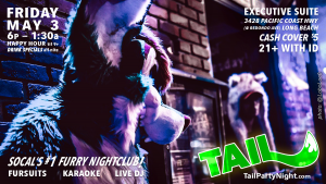 Poster for the Friday May 3rd, 2019 TAIL! Event