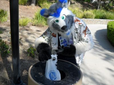 Coony throwing trash away