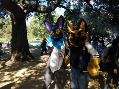 Two fursuiters Calzone and Fester pose for a photo at SoCal FurBQ 2017