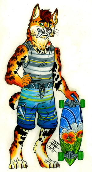 Clayton The Sabre Tooth Bobcat, artwork by Blue Maned Wolf