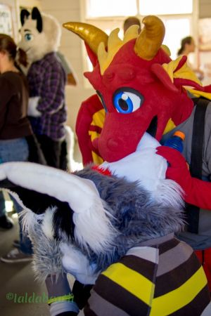 Chance playfully chewing on another fursuiter's ear