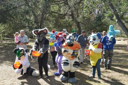 Group of fursuiters with treat bags, ready to go photo courtesy PonyQuest
