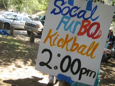 Handwritten sign for a kickball game