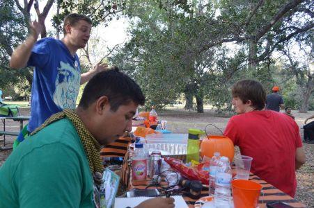 Furries at a picnic table drawing and sketching