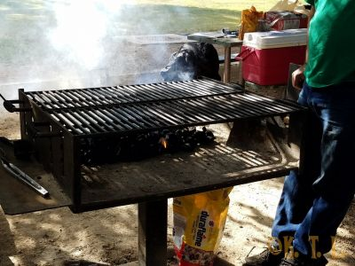 Medium shot of the bbq grill that Stego was cooking on