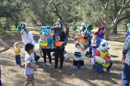 Furries handing out candy for trick-or-treat photo by PonyQuest
