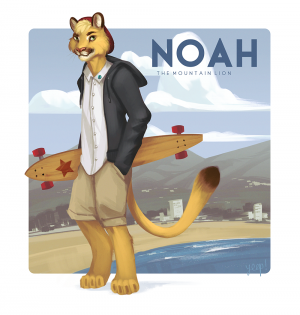 Noah the Mountain Lion our new mascot, design and artwork by Yeep